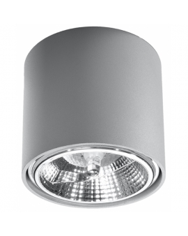 WYS. 24H! Downlight LAMPA sufitowa okrągła PLUTON GU10 (AR111) minimalistyczna CYLINDER metalowa spot WALEC tuba KOŁO szara