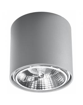 WYS. 24H! Downlight LAMPA sufitowa okrągła TIUBE GU10 (AR111) minimalistyczna CYLINDER metalowa spot WALEC tuba KOŁO szara