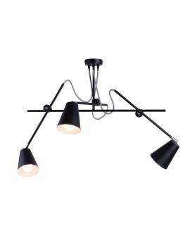 Żyrandol lampa sufitowa metalowa ARTE PIONOWY 1008E/1 ALDEX industrialny regulacja ramion na wysięgniku czarny