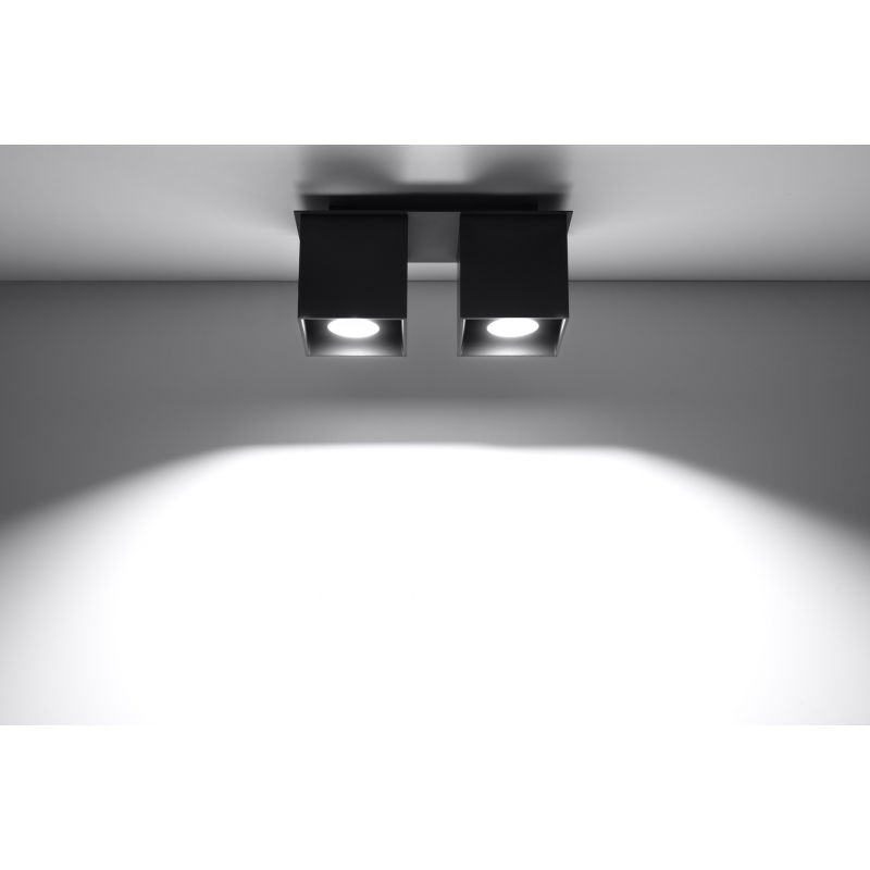 Kwadratowa Lampa Sufitowa Podwójny Plafon Neptun 2 Czarny