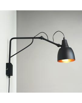 LAMPA Kinkiet SOHO MAŁY 1 1002C1/M ALDEX ścienna z przewodem zasilającym regulowane ramię czarny