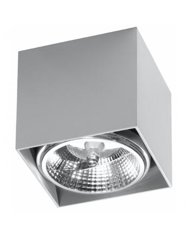 LAMPA sufitowa NEPTUN GU10 (AR111) natynkowa DOWNLIGHT metalowa minimalistyczna KWADRAT SPOT szary