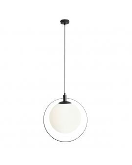 LAMPA wisząca modernistyczna mleczna kula AURA ALDEX loftowa molekuły glass bubble metalowa obręcz szklana kula zwis czarny