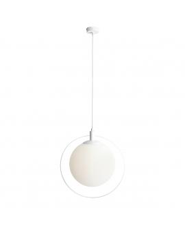 LAMPA wisząca modernistyczna mleczna kula AURA ALDEX loftowa molekuły glass bubble metalowa obręcz szklana kula zwis biały