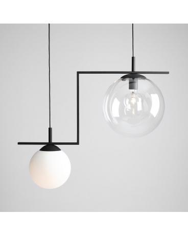 LAMPA wisząca modernistyczna mleczne kule ZAC 2 MIX ALDEX loftowa molekuły glass bubble metalowe pręty szklane kule zwis czarny