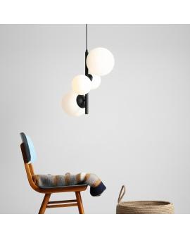 LAMPA wisząca modernistyczna mleczne kule BALIA 4 loftowa molekuły glass bubble metalowe pręty szklane kule zwis czarny