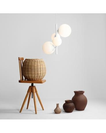 LAMPA wisząca modernistyczna mleczne kule BALIA 4 loftowa molekuły glass bubble metalowe pręty szklane kule zwis biały