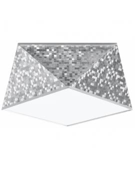 WYS 24H! Nowoczesny Plafon LAMPA sufitowa SQUARE TALL 25cm E27 kwadratowy OPRAWA natynkowa ABAŻUR srebrny