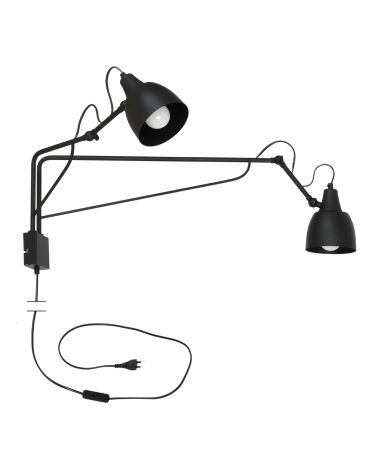 LAMPA Kinkiet SOHO 2 1002D1 ALDEX ścienna z przewodem zasilającym 2 regulowane ramiona czarny