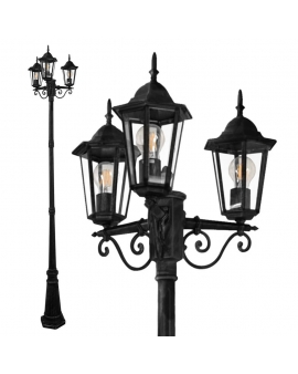 Klasyczna Lampa ogrodowa VERTICAL Zewnętrzna stojąca wys. 250 cm LATARNIA czarna