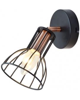 Kinkiet LAMPA ścienna CORK 1 metalowa OPRAWA druciana regulowany plafon miedź czarna