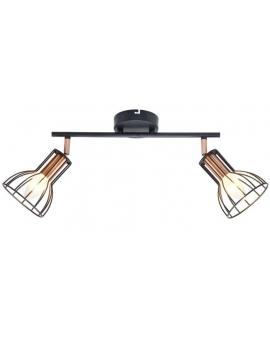 Plafon LAMPA sufitowa CORK 2 industrialna OPRAWA metalowe reflektorki druciane miedź czarne