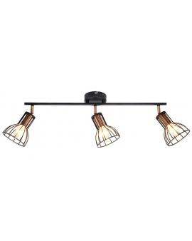 Plafon LAMPA sufitowa CORK 3 industrialna OPRAWA metalowe reflektorki druciane miedź czarne