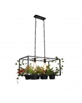 Dekoracyjna LAMPA wisząca FLOWER loftowa OPRAWA prostokątna ZWIS na łańcuchu kwiaty czarny