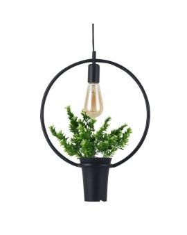 Dekoracyjna LAMPA wisząca FLOWER loftowa OPRAWA okrągła ZWIS na łańcuchu kwiaty czarny