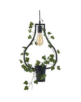Dekoracyjna LAMPA wisząca FLOWER loftowa OPRAWA heksagon ZWIS na łańcuchu kwiaty czarny