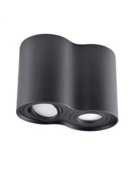 Spot LAMPA sufitowa HADAR ruchoma 2xGU10 LED OPRAWA natynkowa okrągła downlight tuba plafon czarny