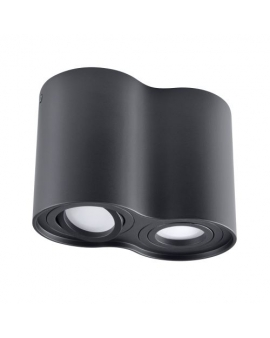 Spot LAMPA sufitowa DARK ruchoma 2xGU10 LED OPRAWA natynkowa okrągła downlight tuba plafon czarny