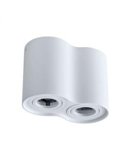 Spot LAMPA sufitowa HADAR ruchoma 2xGU10 LED OPRAWA natynkowa okrągła downlight tuba plafon biały