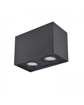 Spot LAMPA sufitowa HADAR ruchoma 2xGU10 LED OPRAWA natynkowa prostokąt downlight tuba plafon czarny