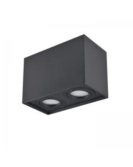 Spot LAMPA sufitowa DARK ruchoma 2xGU10 LED OPRAWA natynkowa prostokąt downlight tuba plafon czarny