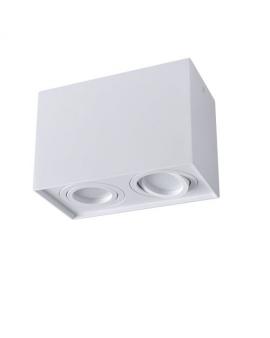 Spot LAMPA sufitowa HADAR ruchoma 2xGU10 LED OPRAWA natynkowa prostokąt downlight tuba plafon biały