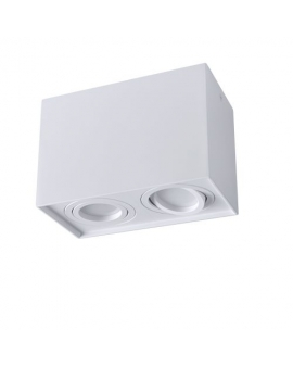 Spot LAMPA sufitowa DARK ruchoma 2xGU10 LED OPRAWA natynkowa prostokąt downlight tuba plafon biały