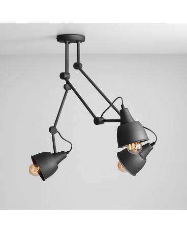 LAMPA sufitowa AIDA GREY 814PL_E19 metalowa OPRAWA przeguby regulowane reflektorki na wysięgnikach grafitowe