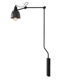 Kinkiet LAMPA ścienna łamana AIDA GREY mały 814C19 lampka na ścianę z kablem regulowane ramię na wysięgniku grafitowy klosz