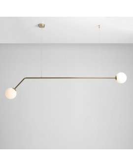 LAMPA wisząca minimalistyczna mleczne kule PURE 2 GOLD loftowa molekuły glass bubble metalowe pręty szklane kule zwis złoty