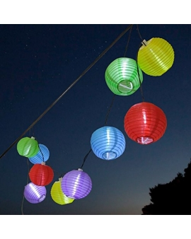 GIRLANDA Lampki Ogrodowe KOLOROWE KULE Solarne LED 10szt 5m