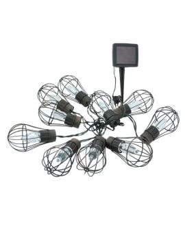 GIRLANDA solarna Lampki Ogrodowe ozdobne żarówki loft świecące dekoracyjne LED łańcuch 10 lampek 3,8m