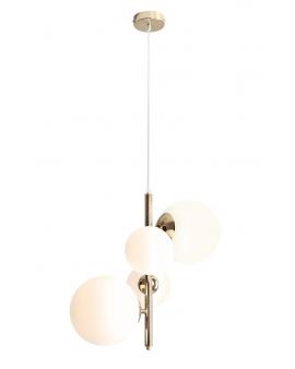 LAMPA wisząca modernistyczna mleczne kule BALIA 4 GOLD loftowa molekuły glass bubble metalowe pręty szklane kule zwis złoty