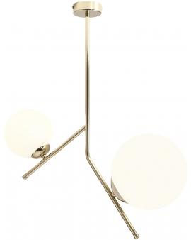 % LAMPA wisząca modernistyczna szklane mleczne kule LUNA 2 ALDEX 1011PL/H1 loftowa molekuły OPRAWA metalowe pręty zwis złoty