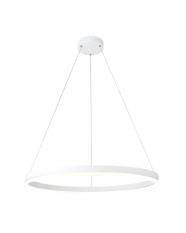 POLUX 308795 FOKKO 60 Nowoczesna Lampa wisząca LED RING WH 32W 3000K 1800lm żyrandol koło okrągła pierścień 60cm biała