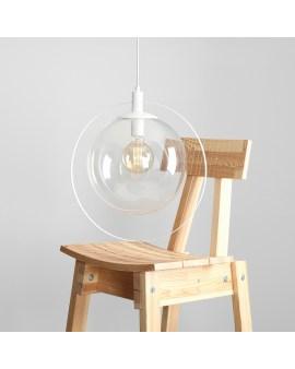 ALDEX 1065G AURA LAMPA wisząca modernistyczna przezroczyste szkło kula loftowa molekuły glass bubble metalowa obręcz biały