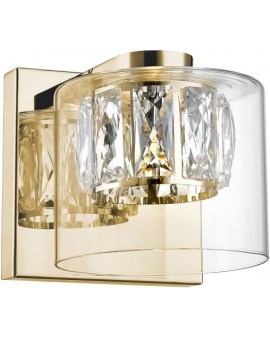 ZUMA Lampa ścienna GEM W0389-01A-F7AC okrągła metalowa baza klosz w kształcie szklanego walca