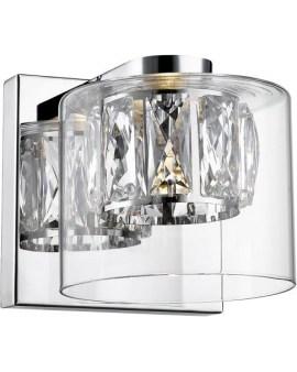 ZUMA Lampa ścienna W0389-01A-B5AC metalowa baza klosz w kształcie szklanego walca