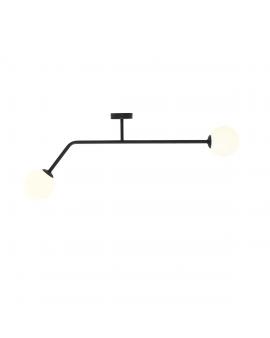 RABAT 6%*** PURE BLACK 1064D1_2 Kinkiet minimalistyczny mleczne kule loftowa molekuły glass bubble metalowe pręty szklane kule