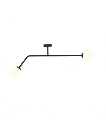 RABAT 6%*** PURE BLACK Plafon minimalistyczny mleczne kule loftowa molekuły glass bubble metalowe pręty szklane kule