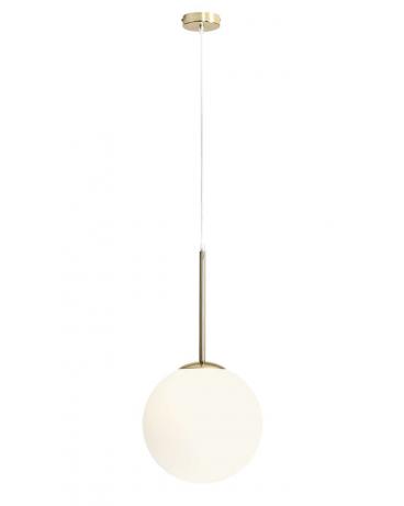 RABAT! DO -18% BALIA 1 GOLD LAMPA wisząca modernistyczna mleczna kula loftowa molekuły glass metalowe pręty szklana zwis złoty