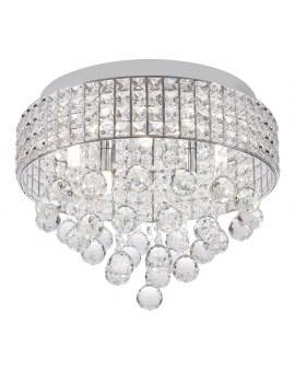 RABAT! DO -18% ZUMA 19027-M CAPRI Plafon LAMPA sufitowa szklana OPRAWA okrągła kryształki cristal glamour złota przezroczysta