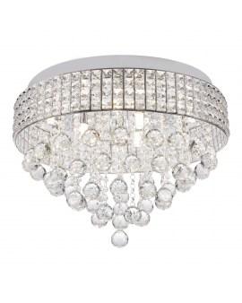 RABAT! DO -18% ZUMA 19027-L CAPRI Plafon LAMPA sufitowa szklana OPRAWA okrągła kryształki cristal glamour chrom przezroczysta