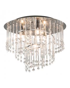 RABAT! DO -18% ZUMA 19154M TERRE Plafon LAMPA sufitowa szklana OPRAWA okrągła kryształki cristal glamour złota przezroczysta