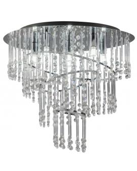 RABAT! DO -18% ZUMA 19154L TERRE Plafon LAMPA sufitowa szklana OPRAWA okrągła kryształki cristal glamour chrom przezroczysta