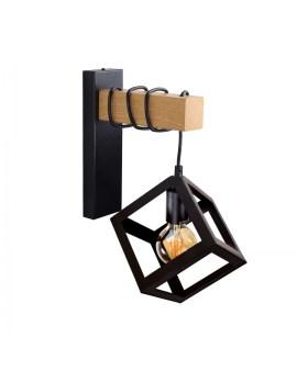 RABAT! DO -18% POLUX 314604 SWEDEN WOOD Kinkiet LAMPA ścienna metalowa OPRAWA druciana klatka industrialna czarna