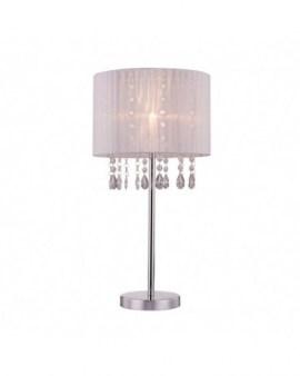 ZUMA ACTION RLT93350-1A LETA LAMPA STOŁOWA Ø28cm LAMPKA NOCNA Z KRYSZTAŁKAMI GLAMOUR ABAŻUR ORGANZA MGIEŁKA BIAŁA