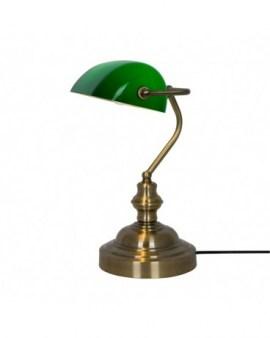 ZUMA ACTION EDES TABLE T110810 Lampka gabinetowa bankierka Antique 1 x 60 W E27 zielony klosz patyna