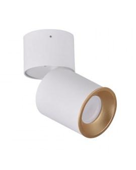 RABAT! DO -18% POLUX 314024 ASTRA Oprawa sufitowa LED lampa natynkowa ruchoma tuba biała/złota SPOT 10W