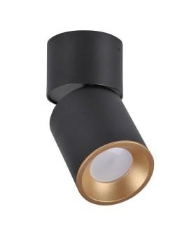 RABAT! DO -18% POLUX 314048 ASTRA Oprawa sufitowa LED lampa natynkowa ruchoma tuba czarna/złota SPOT 10W